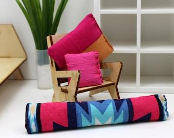 3 Pillow Set - Miniature Modern decor - Popping Pinks