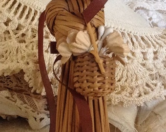 Handmade Straw Girl With Basket