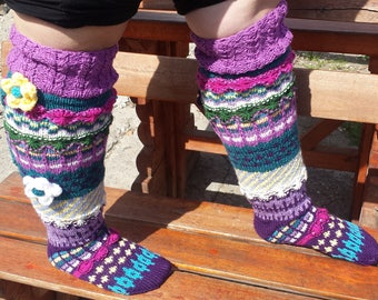 Hand knit knee socks,leg warmers,knitted socks,Unique leggins,Over-the-Knee Socks,Knit Knee High Socks,wool socks,xxl,PLUS SIZES,large size