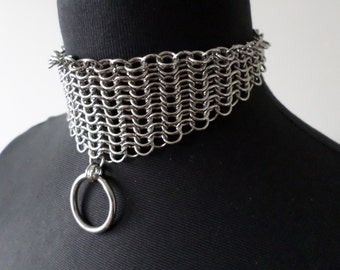 Stainless Steel European Chainmail O-Ring Choker - Gothic Chainmaille Collar Necklace