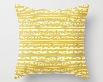 Lines and Dots Pillow  - Modern Pillow  - Yellow pillow  - Modern Home Decor - By Aldari Home
