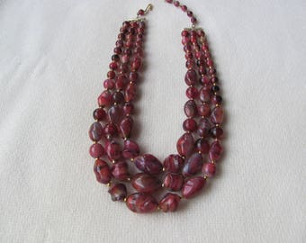 Vintage Multi-strand Necklace, Reddish