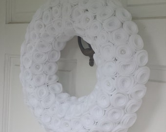 White wreath, Winter wreath, Rose wreath, Winter flower wreath, White rose wreath