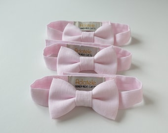 Pale Pink  Ring Bearer Linen Bow Tie - Blush Pink Boy's Bowtie - Festive Boy's Outfit - Blush Wedding Bowties