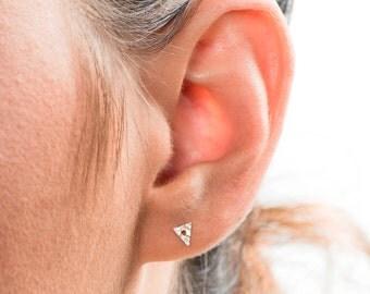 Triangle Stud Earrings, Minimalist Earrings, Stud Earrings, Geometric Earrings, Contemporary Jewelry, Silver Stud, Set of 3 Earring, Studs