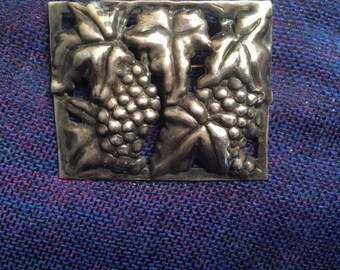 Sterling Silver Repoussé Brooch - Grape Clusters and Leaves