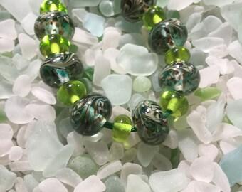 Lime Twist Lampwork Beads
