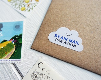 70 Air Mail Par Avion Stickers Postage Shipping Airmail Cloud Penpal Stickers / Stationery / 249