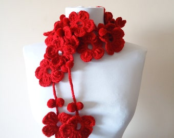 Crochet Lariat Scarf,Red Flower Scarf, Crochet Scarf,  Red Crochet Scarf, Red Floral Lariat Scarf, Gift for Mom, Handcrochet Red Scarf