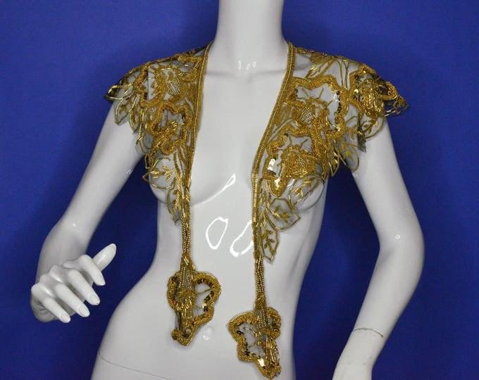 Rare Vintage Estate Art Deco 1920s Hand Beaded Sequin Gold on Black Net Scalloped Edge Tassel Shawl Collar Necklace Scarf Shoulders Shrug