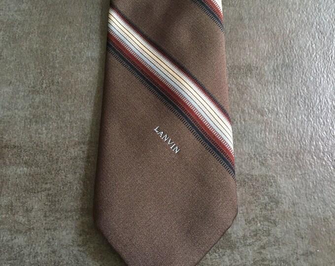 Vintage Estate AUTHENTIC Lanvin Brown Cream Burgundy Black Slanted Stripe Print Tie