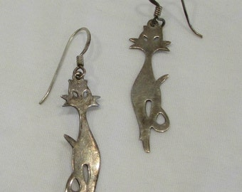 Earrings, Pair, Pierced, Wires, Cats, Sterling Silver, Thailand