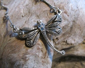 Dragonfly Necklace Insect Jewelry Silvertone and Rhinestone