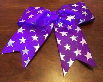 Star Cheer Bow, 10 Inch Cheer Bow, Purple Cheer Bow, Star Cheer Bow, Purple Star Cheer Bows, Cheerleader Bows