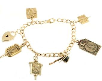 Gold Filled 1940s Charm Bracelet