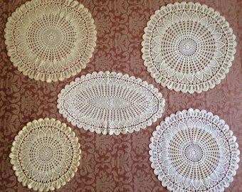 6 Crochet Lace Doilies