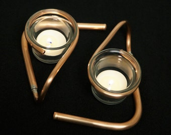 Two  Copper Votive Candle Holder