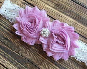Lilac Shabby Flower & Ivory Lace Headband, Newborn Headband, Baby Headband, Toddler Headband, Girls Headband, Photo Prop