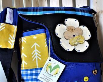 Yellow and blue original creative burst bag handmade by bags