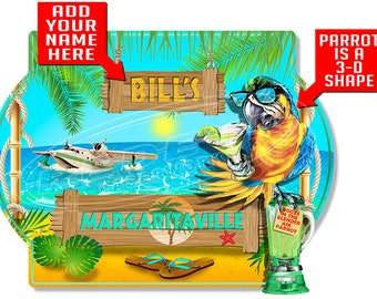 Personalized Margaritaville with 3-D Parrot Hardboard Wall Sign