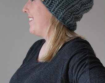Slouchy Beanie - 100%  Merino Wool in the color Alpine - Ready to Ship