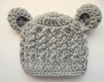 Baby bear hat Gray bear hat Baby animal hat Baby hat with ears Newborn bear hat Crochet baby hat Newborn hat Baby boy hat Gray baby hat