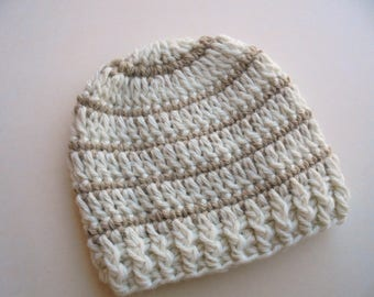 Baby boy hat Striped baby hat Baby boy beanie Crochet baby hat Newborn beanie Cream baby boy hat Newborn boy hat Baby boy outfit