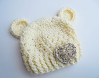 Baby girl bear hat Bear beanie Cream bear hat Crochet bear hat Baby girl hat Baby hat with ears Newborn hat Baby bear hat Baby animal hat