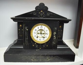 Antique Heavy Black Mantle Clock with Open Escapement