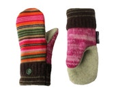 Pink and Green Striped Wool Sweater Mittens Recycled Wool, Women's Mittens Handmade in Wisconsin Sweaty Mitts Fleece Lined Brown Orange