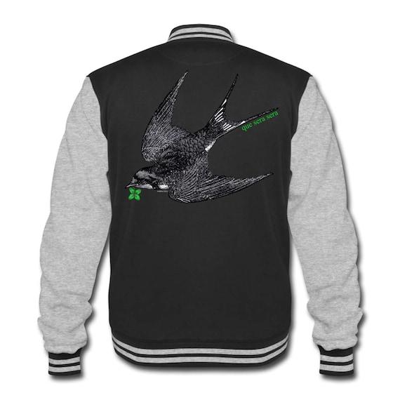 College Varsity Preppy Sweat Jacket With Swallow Bird 'Que Sera Sera' Back Print. Sizes S-XXL. Black With Grey Arms And Contrasting Trim.
