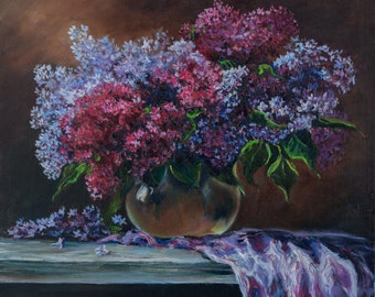 Original Oil Painting Still Life with Lilac Original Artwork Floral Oil on Canvas 46x53cm 2016