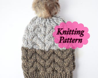 PATTERN ONLY, chunky Cable Slouchy Beanie