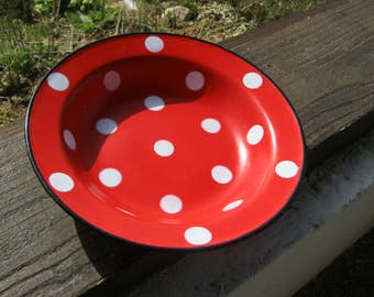 Polka Dot Enamel Bowl, French Red Enamel, French Vintage Enamel Shallow Bowl