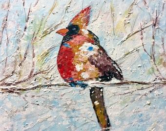 Female Cardinal Art - Cardinal Print - Cardinal Decor - Cardinal Wall Art - Cardinal Painting - Bird Painting - Bird Art - Winter Art -