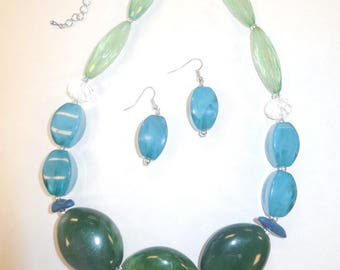 Jewelry Set Earrings Necklace Beaded Vintage Beaded Green Blue Chunky Women's Fashion Accessories Casual Style