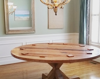60 or 72 round table round dining room table kitchen table - Round Pine Kitchen Table