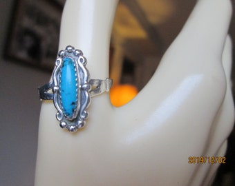 Vintage Genuine Turquoise  Sterling Silver Southwestern Signed WM  Ring Size 9.5, Wt. 3.2 Grams