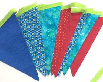Fabric bunting with 8 fabric flags. Party banner.  Blue, green and red. Birthday, Wedding, Photo Prop, Baby Nursery Decor. Ready to ship