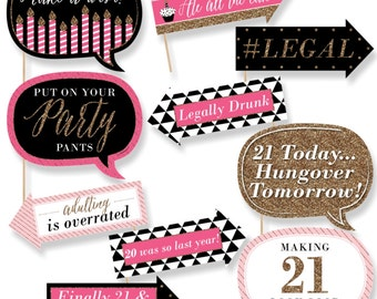Funny Chic 21st Birthday - Pink, Black and Gold - Photo Booth Props - Birthday Party Photo Booth Prop Kit - 10 Photo Props & Dowels