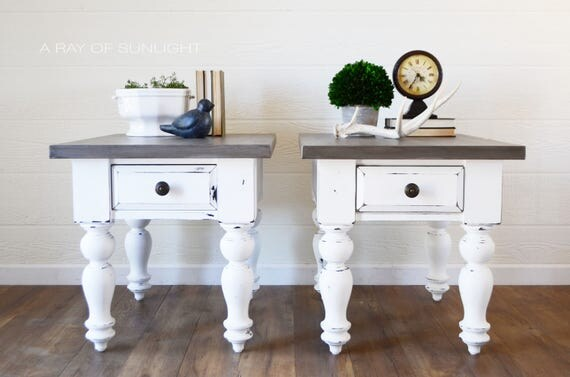SOLD White Farmhouse End Tables Weathered Wood Painted Top