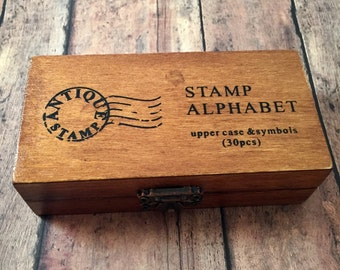 Upper case rubber stamp alphabet & symbols - rubber stamp set, alphabet stamps, scrapbook findings, letter stamp set, DIY craft supplies