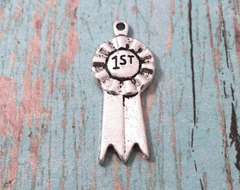 6 First place ribbon charms (1 sided) antique silver tone - first place pendants, ribbon charm, contest winner charm, blue ribbon charm, NN3