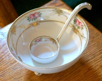 Antique Japanese Nippon Hand Painted Mayonnaise Bowl or Condiment Bowl with Nippon Ladle, Collectible China