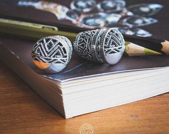 Songket Bali Ornamentation Solid Silver Earrings, Balinese Traditional Stud Earrings, 925 Sterling SIlver, Fine Quality