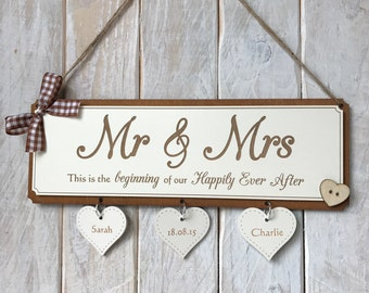 Personalised Wedding Engagement Gift Plaque - Mr & Mrs Beginning of Our Happily Ever After