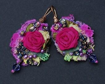 Baroque textile earrings, gipsy earrings, Marie Antoinette earrings, shabby chic bohemian earrings, mixed media earrings, lace earrings