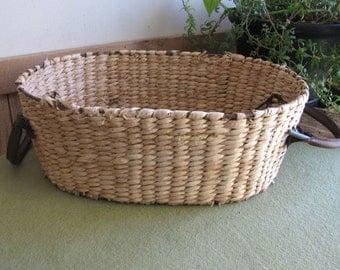 Vintage Oval Straw Basket Garden Trug With Leather Handles Iron Framed