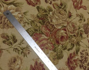 Vintage Traditional Victorian Floral Upholstery // CLEARANCE // Large Scale // Green, Beige, Tan, Red, Gold // Victorian // Sold by the Yard
