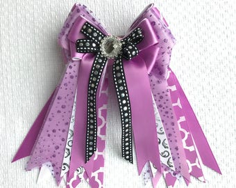 Horse Show Hair Bows/Purple  Glitter Sparkle gem/Beautiful Gift